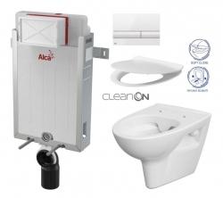 ALCAPLAST  Renovmodul - predstenový inštalačný systém s bielym tlačidlom M1710 + WC CERSANIT CLEANON PARVA + SEDADLO (AM115/1000 M1710 PA2)