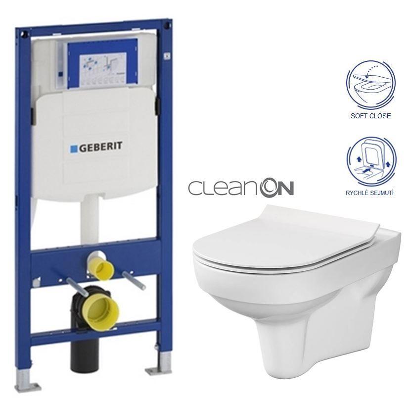 GEBERIT Duofix bez ovládacej dosky + WC CERSANIT CITY NEW CLEANON + WC SEDENIE SLIM 111.300.00.5 CI2