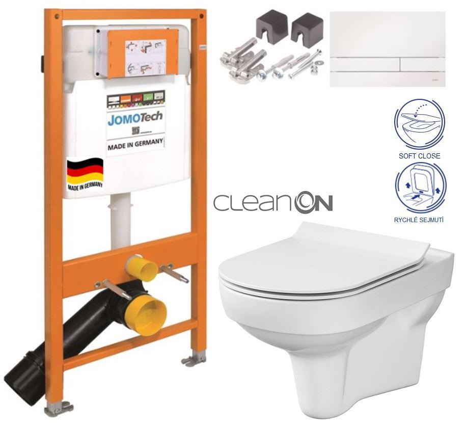 JOMOTech modul pre závesné WC s bielou doskou + WC CERSANIT CITY NEW CLEANON + WC SEDENIE SLIM 174-91100900-00 CI2