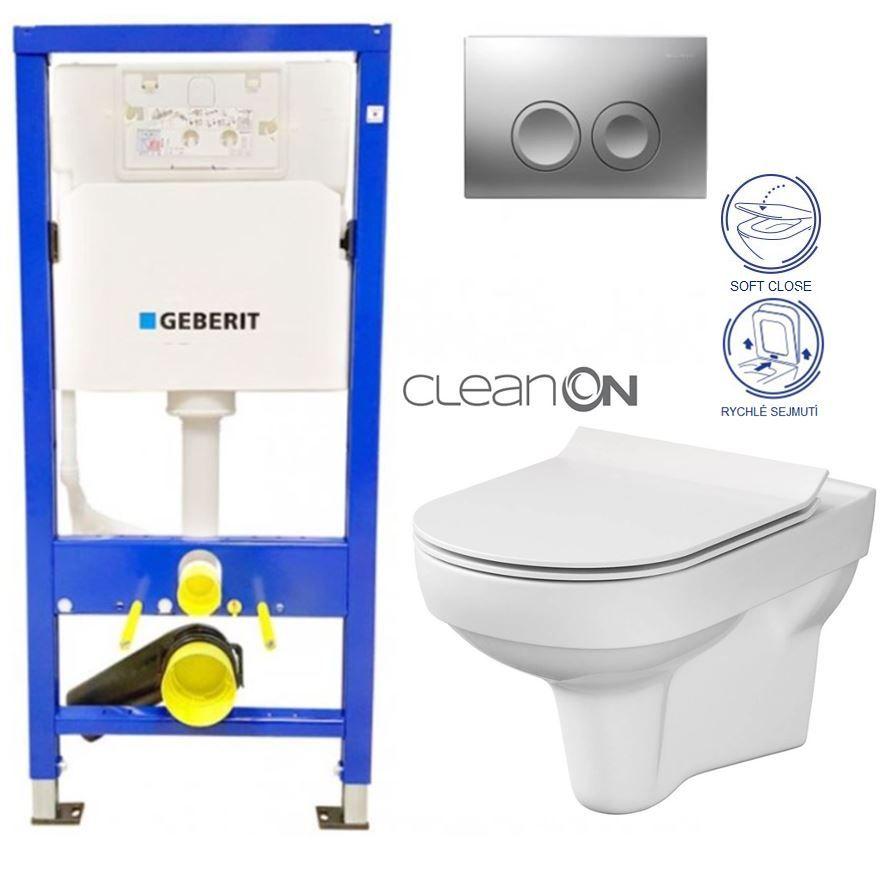 GEBERIT DuofixBasic s matným tlačidlom DELTA21 + WC CERSANIT CITY NEW CLEANON + WC SEDENIE SLIM 458.103.00.1 21MA CI2