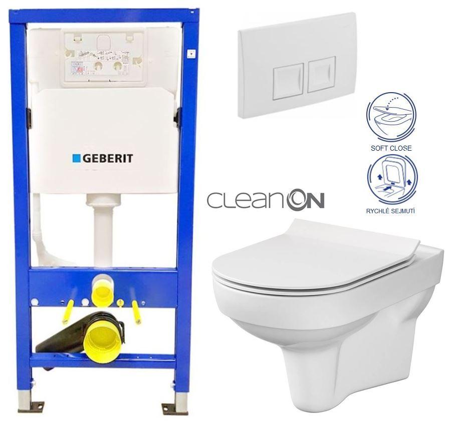 GEBERIT DuofixBasic s bielym tlačidlom DELTA50 + WC CERSANIT CITY NEW CLEANON + WC SEDENIE SLIM 458.103.00.1 50BI CI2