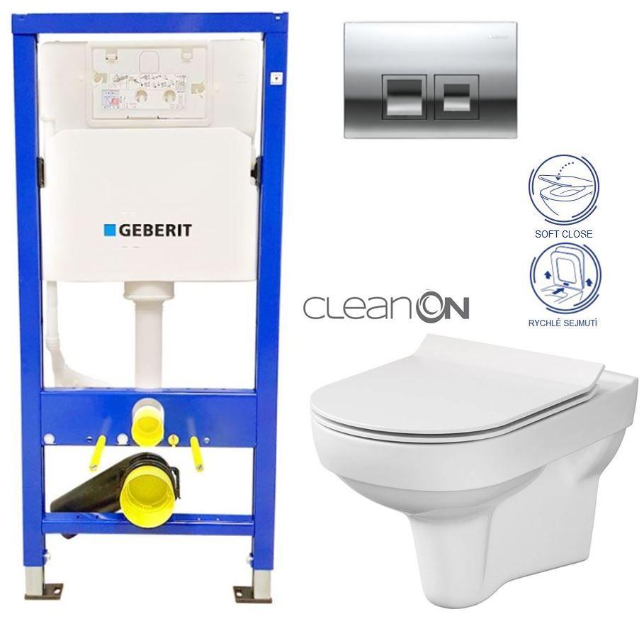 GEBERIT DuofixBasic s chrómovým tlačidlom DELTA50 + WC CERSANIT CITY NEW CLEANON + WC SEDENIE SLIM 458.103.00.1 50CR CI2