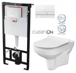 ALCAPLAST  Sádromodul - predstenový inštalačný systém s bielym tlačidlom M1710 + WC CERSANIT CITY NEW CLEANON + WC SEDENIE SLIM (AM101/1120 M1710 CI2)