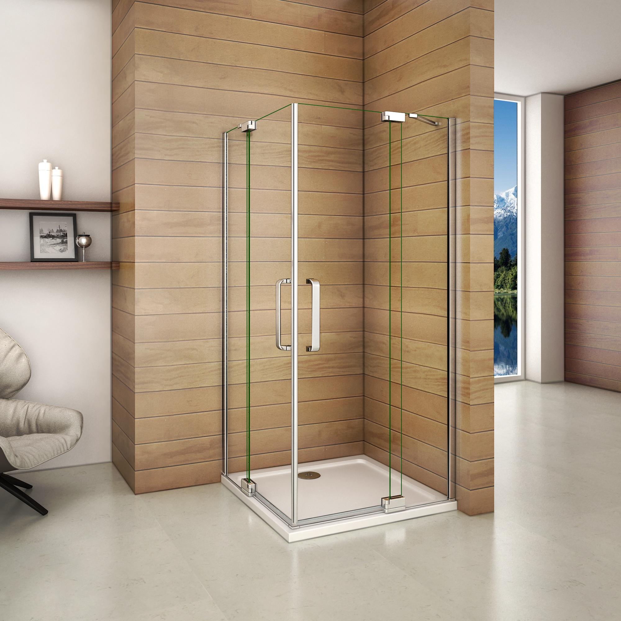 H K - Čtvercový sprchový kout AIRLINE R909, 90x90 cm, se dvěma jednokřídlými dveřmi s pevnou stěnou, rohový vstup včetně sprchové vaničky z litého mramoru (SE-AIRLINER909/THOR-90SQ)