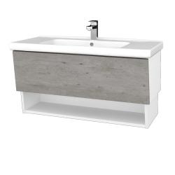 Dreja - Kúpeľňová skriňa INVENCE SZZO 100 (umývadlo Harmonia) - L01 Bílá vysoký lesk / D01 Beton (147617)