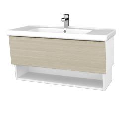 Dreja - Kúpeľňová skriňa INVENCE SZZO 100 (umývadlo Harmonia) - L01 Bílá vysoký lesk / D04 Dub (147648)