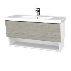 Dreja - Kúpeľňová skriňa INVENCE SZZO 100 (umývadlo Harmonia) - L01 Bílá vysoký lesk / D05 Oregon (147655)