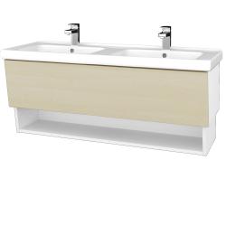 Dreja - Kúpeľňová skriňa INVENCE SZZO 125 (dvojumývadlo Harmonia) - L01 Bílá vysoký lesk / D02 Bříza (147785)