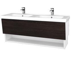 Dreja - Kúpeľňová skriňa INVENCE SZZO 125 (dvojumývadlo Harmonia) - L01 Bílá vysoký lesk / D08 Wenge (147839)