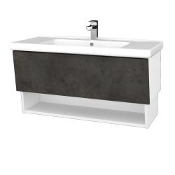 Dreja - Kúpeľňová skriňa INVENCE SZZO 100 (umývadlo Harmonia) - L01 Bílá vysoký lesk / D16 Beton tmavý (180263)