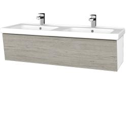 Dreja - Kúpeľňová skriňa INVENCE SZZ 125 (dvojumývadlo Harmonia) - L01 Bílá vysoký lesk / D05 Oregon (184315)