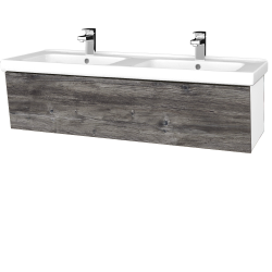 Dreja - Kúpeľňová skriňa INVENCE SZZ 125 (dvojumývadlo Harmonia) - L01 Bílá vysoký lesk / D10 Borovice Jackson (184353)