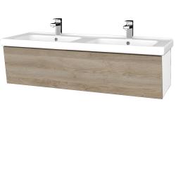 Dreja - Kúpeľňová skriňa INVENCE SZZ 125 (dvojumývadlo Harmonia) - L01 Bílá vysoký lesk / D17 Colorado (184391)
