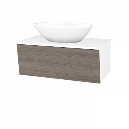 Dreja - Kúpeľňová skriňa INVENCE SZZ 80 (umývadlo Triumph) - L01 Bílá vysoký lesk / D03 Cafe (181604)