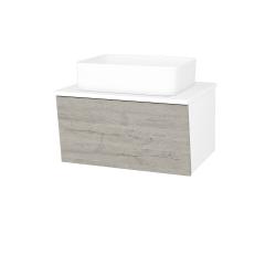Dreja - Kúpeľňová skriňa INVENCE SZZ 65 (umývadlo Joy) - L01 Bílá vysoký lesk / D05 Oregon (176822)