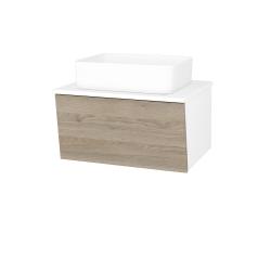 Dreja - Kúpeľňová skriňa INVENCE SZZ 65 (umývadlo Joy) - L01 Bílá vysoký lesk / D17 Colorado (176907)
