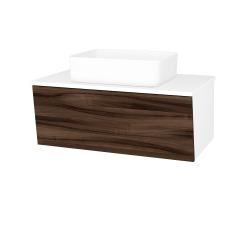 Dreja - Kúpeľňová skriňa INVENCE SZZ 80 (umývadlo Joy) - L01 Bílá vysoký lesk / D06 Ořech (179496)