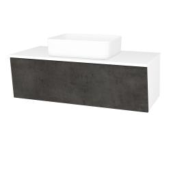 Dreja - Kúpeľňová skriňa INVENCE SZZ 100 (umývadlo Joy) - L01 Bílá vysoký lesk / D16 Beton tmavý (182274)