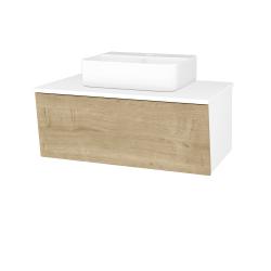 Dreja - Kúpeľňová skriňa INVENCE SZZ 80 (umývadlo Joy 3) - L01 Bílá vysoký lesk / D09 Arlington (181079)