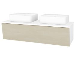 Dreja - Kúpeľňová skriňa INVENCE SZZ 125 (2 umývadlá Joy 3) - L01 Bílá vysoký lesk / D02 Bříza (186029)