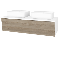 Dreja - Kúpeľňová skriňa INVENCE SZZ 125 (2 umývadlá Joy 3) - L01 Bílá vysoký lesk / D17 Colorado (186135)
