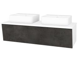 Dreja - Kúpeľňová skriňa INVENCE SZZ 125 (2 umývadlá Joy 3) - L01 Bílá vysoký lesk / D16 Beton tmavý (186128)