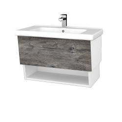 Dreja - Kúpeľňová skriňa INVENCE SZZO 80 (umývadlo Harmonia) - L01 Bílá vysoký lesk / D10 Borovice Jackson (178710)