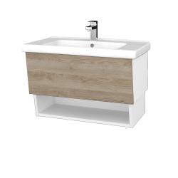 Dreja - Kúpeľňová skriňa INVENCE SZZO 80 (umývadlo Harmonia) - L01 Bílá vysoký lesk / D17 Colorado (178741)