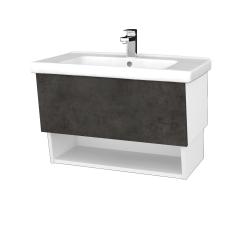 Dreja - Kúpeľňová skriňa INVENCE SZZO 80 (umývadlo Harmonia) - L01 Bílá vysoký lesk / D16 Beton tmavý (178734)