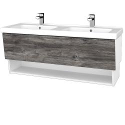 Dreja - Kúpeľňová skriňa INVENCE SZZO 125 (dvojumývadlo Harmonia) - L01 Bílá vysoký lesk / D10 Borovice Jackson (184094)