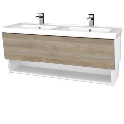 Dreja - Kúpeľňová skriňa INVENCE SZZO 125 (dvojumývadlo Harmonia) - L01 Bílá vysoký lesk / D17 Colorado (184124)