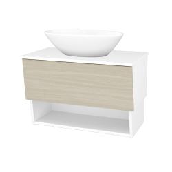Dreja - Kúpeľňová skriňa INVENCE SZZO 80 (umývadlo Triumph) - L01 Bílá vysoký lesk / D04 Dub (181321)