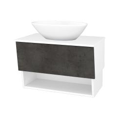 Dreja - Kúpeľňová skriňa INVENCE SZZO 80 (umývadlo Triumph) - L01 Bílá vysoký lesk / D16 Beton tmavý (181390)