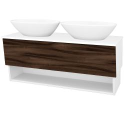 Dreja - Kúpeľňová skriňa INVENCE SZZO 125 (2 umývadlá Triumph) - L01 Bílá vysoký lesk / D06 Ořech (186357)