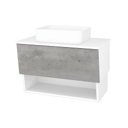 Dreja - Kúpeľňová skriňa INVENCE SZZO 80 (umývadlo Joy) - L01 Bílá vysoký lesk / D01 Beton (179212)
