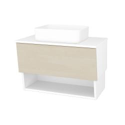 Dreja - Kúpeľňová skriňa INVENCE SZZO 80 (umývadlo Joy) - L01 Bílá vysoký lesk / D02 Bříza (179298)