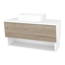Dreja - Kúpeľňová skriňa INVENCE SZZO 100 (umývadlo Joy) - L01 Bílá vysoký lesk / D17 Colorado (181994)