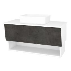 Dreja - Kúpeľňová skriňa INVENCE SZZO 100 (umývadlo Joy) - L01 Bílá vysoký lesk / D16 Beton tmavý (181987)