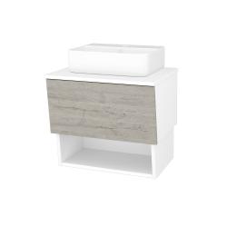 Dreja - Kúpeľňová skriňa INVENCE SZZO 65 (umývadlo Joy 3) - L01 Bílá vysoký lesk / D05 Oregon (177690)