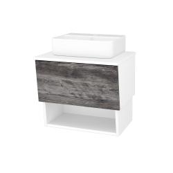 Dreja - Kúpeľňová skriňa INVENCE SZZO 65 (umývadlo Joy 3) - L01 Bílá vysoký lesk / D10 Borovice Jackson (177737)
