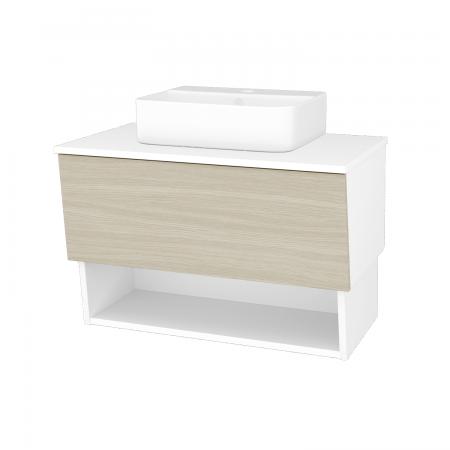Dreja - Kúpeľňová skriňa INVENCE SZZO 80 (umývadlo Joy 3) - L01 Bílá vysoký lesk / D04 Dub (180744)