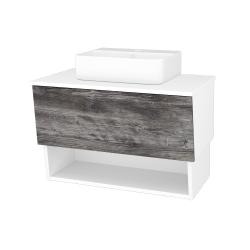 Dreja - Kúpeľňová skriňa INVENCE SZZO 80 (umývadlo Joy 3) - L01 Bílá vysoký lesk / D10 Borovice Jackson (180799)