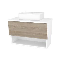 Dreja - Kúpeľňová skriňa INVENCE SZZO 80 (umývadlo Joy 3) - L01 Bílá vysoký lesk / D17 Colorado (180836)