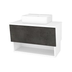 Dreja - Kúpeľňová skriňa INVENCE SZZO 80 (umývadlo Joy 3) - L01 Bílá vysoký lesk / D16 Beton tmavý (180829)