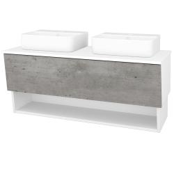 Dreja - Kúpeľňová skriňa INVENCE SZZO 125 (2 umývadlá Joy 3) - L01 Bílá vysoký lesk / D01 Beton (185725)