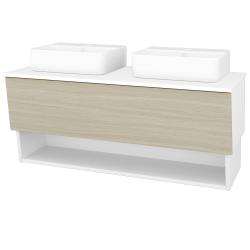 Dreja - Kúpeľňová skriňa INVENCE SZZO 125 (2 umývadlá Joy 3) - L01 Bílá vysoký lesk / D04 Dub (185756)