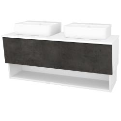 Dreja - Kúpeľňová skriňa INVENCE SZZO 125 (2 umývadlá Joy 3) - L01 Bílá vysoký lesk / D16 Beton tmavý (185831)