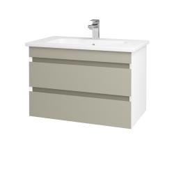 Dreja - Kúpeľňová skriňa MAJESTY SZZ2 80 - L01 Bílá vysoký lesk / L04 Béžová vysoký lesk (175313)