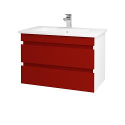 Dreja - Kúpeľňová skriňa MAJESTY SZZ2 80 - L01 Bílá vysoký lesk / M07 Červená mat (175368)