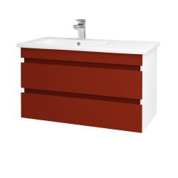 Dreja - Kúpeľňová skriňa MAJESTY SZZ2 90 - L01 Bílá vysoký lesk / M07 Červená mat (175498)